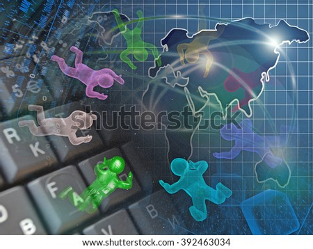 Digits, mans and map - abstract computer background. - stock photo