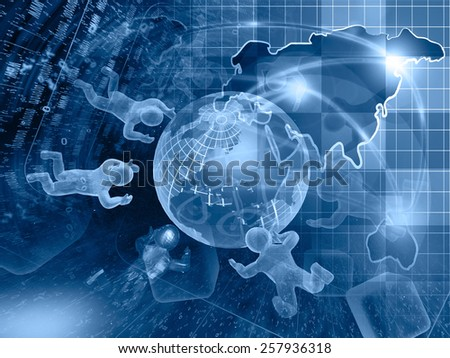 Digits, mans and map - abstract computer background in blues. - stock photo