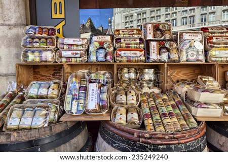Dijon, France - August 27 2014: Shopping bazaars, which presents many varieties of traditional Burgundian mustard - stock photo