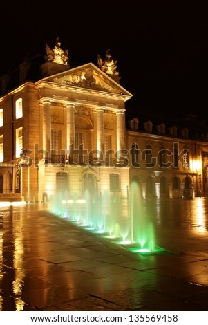 dijon government building at night after rain