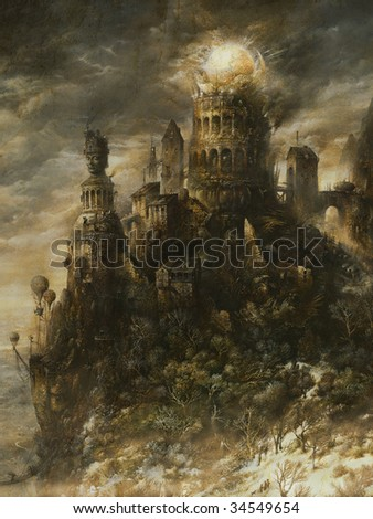Dilapidated fortress. Made by tempera on paper. - stock photo