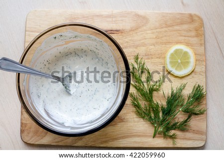 Dill Lemon Bowl of Mayonnaise - stock photo