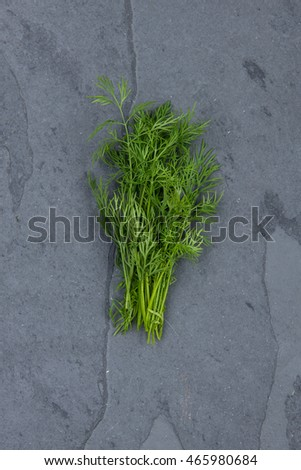 Dill on grey cutting board, stock picture