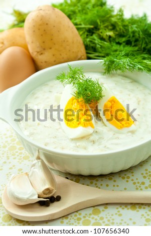 Dill soup with egg and potatoes in a white bowl. - stock photo
