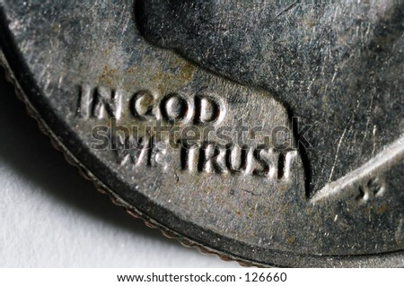 "Dime - Corner of with ""In God We Trust"" showing"
