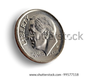 dime on a white background - stock photo