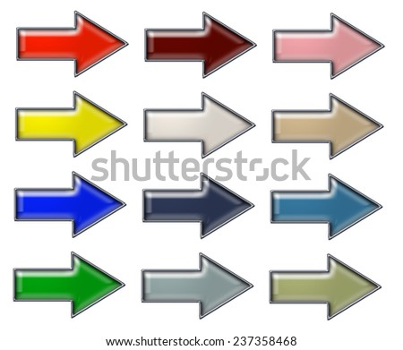 Dimensional Arrows in Gem Style with Chrome Border - stock photo