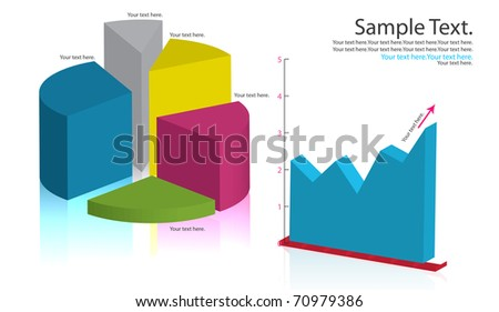 dimensional Graph - stock photo
