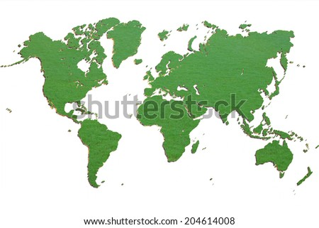 Dimensional Green Wold Map with USA Europe Africa the Americas and Asia as an international symbol of global communications as a three dimension illustration of an earth model. - stock photo