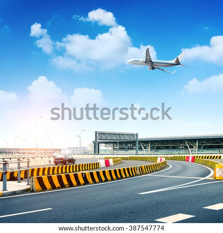 Dimensional transportation landscape, highway and aircraft.