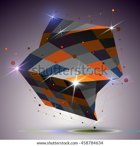 Dimensional twisted shiny cube with lights effect. 3d colorful design element with connected lines, can be used in engineering and technology projects. - stock photo