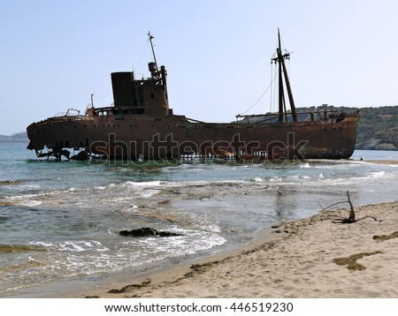 Dimitrios shipwreck at Selinitsa beach near Gytheio, Peloponnese, Greece