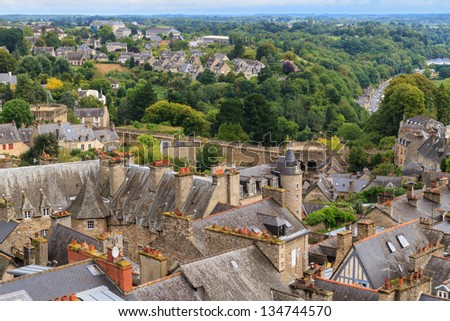 Dinan old town panoramic view, Brittany, France - stock photo