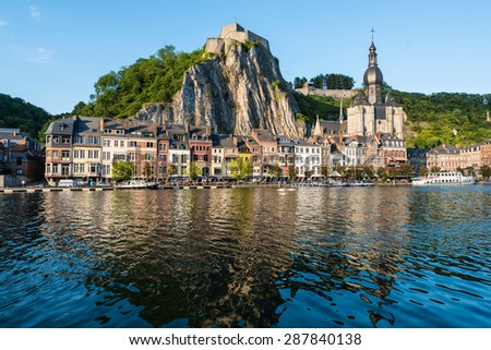 DINANT, BELGIUM - JUNE 15, 2014: The fortified Citadel was first built in the 11th century to control the Meuse valley in Dinant, Belgium - stock photo