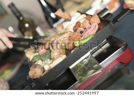 Diner and Food background with people hand