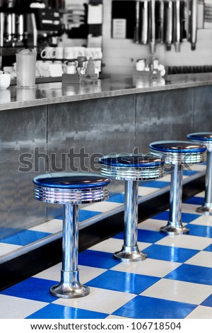 Diner, partial black and white - stock photo