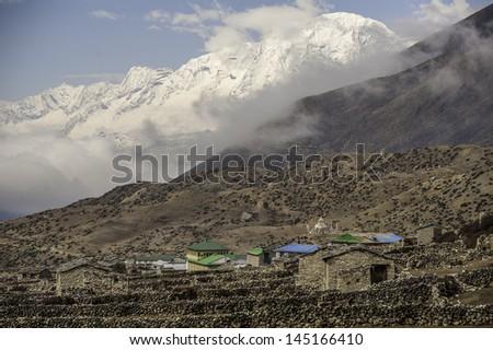 Dingboche village - Everest region, Nepal, Himalayas - stock photo