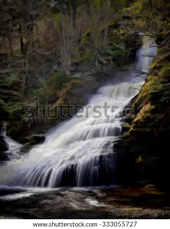 Dingmans Falls in Springtime - turned into a colorful painting