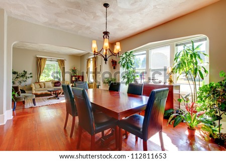 Dining Living Room Plants Hardwood Floor Stock Photo 112811653 ...