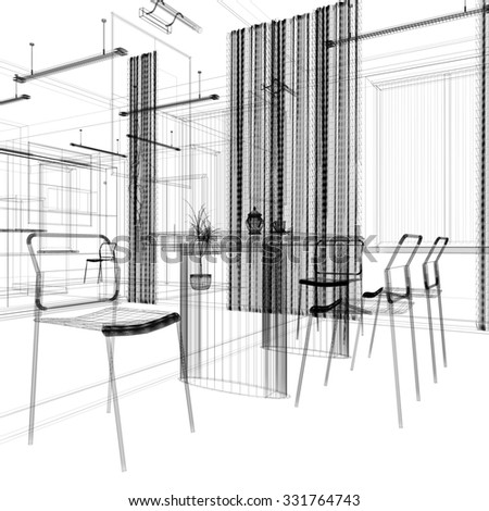 dining area in a modern office, 3d rendering