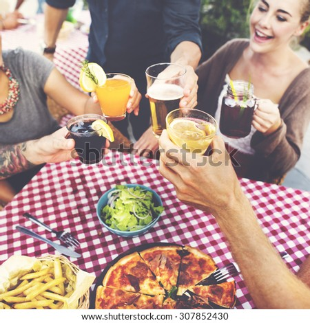 Dining Dinner Drinking Brunch Lifestyle Friendship Concept - stock photo