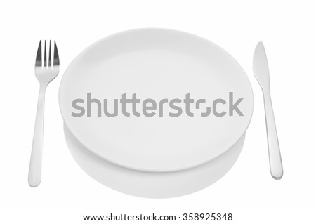 Dining etiquette, forks and knifes signals with location of cutlery set. Photo illustration isolated on white background with copy space.