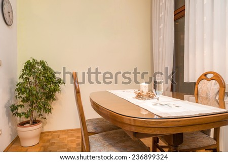 Dining room -  ambient light, enhanced colors - stock photo
