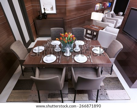 Dining room in a modern style, 3d render - stock photo