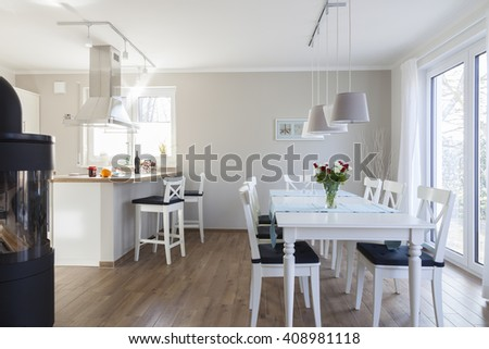 dining room in house - stock photo