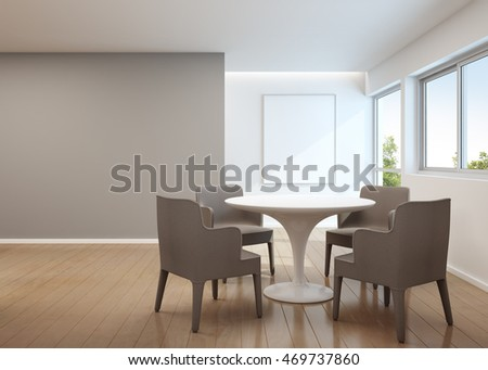 Dining room in modern house with white picture frame - 3D rendering