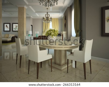 Dining-room in the modern country-house 3D - stock photo