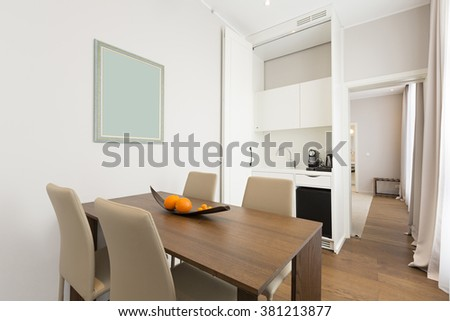 Dining room interior in hotel apartment