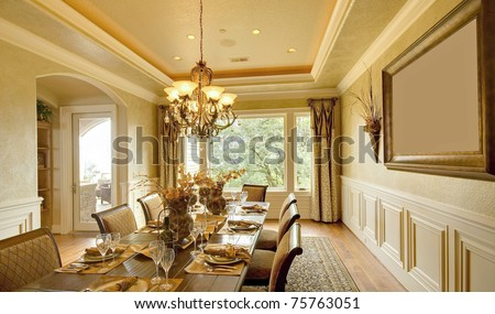 Dining Room Interior in Luxury Home - stock photo