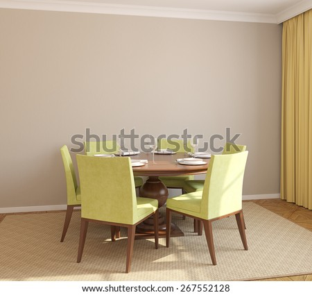Dining-room interior with round table and six green chairs. 3d render. - stock photo