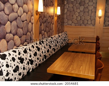 Dining room on large cruise ship, close-up - stock photo