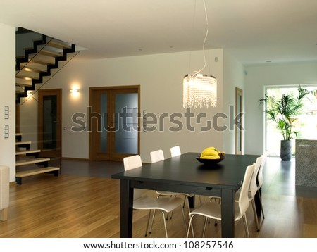 Dining room, staircase and corridor of modern house