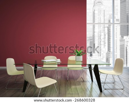 dining room with burgundy walls 3D rendering - stock photo