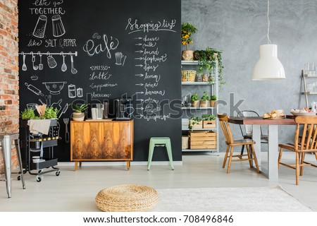 Dining Room Chalkboard Wall Wooden Chest Stock Photo 708496846 ...
