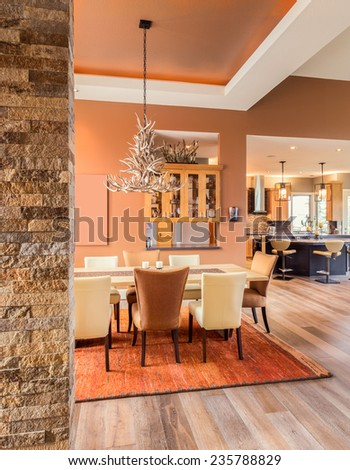 Dining Room With Entryway And View Of Kitchen