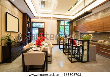 dining room with nice decoration of Chinese style