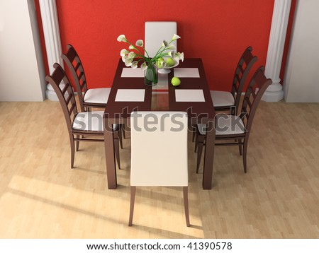 Dining table against a wall 3d image
