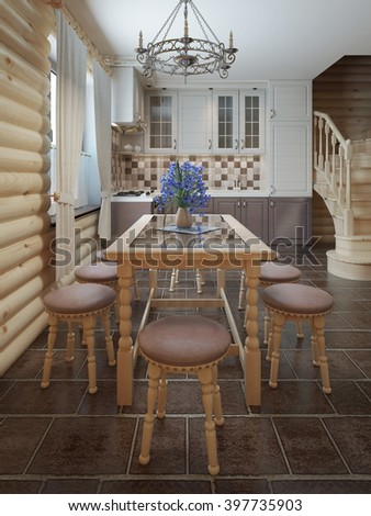 Dining table and chairs by the window in the interior of a log style. 3D render.