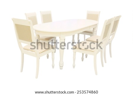dining table and chairs isolated under the white background  - stock photo