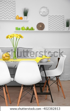 Dining table in home interior