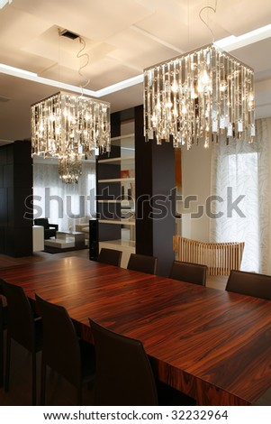 dining table in modern apartment