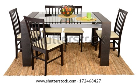 Dining Table On Carpet Against White Background