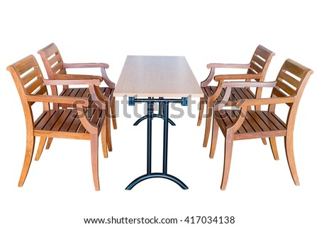 Dining table steel legs and wooden chairs isolated on white background, work with clipping path.