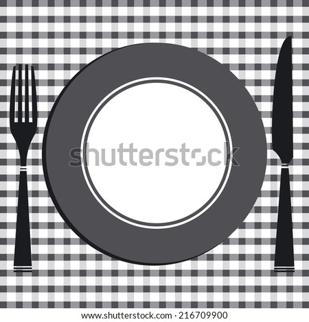 Dining table with cover of knife, fork and plate  - stock photo