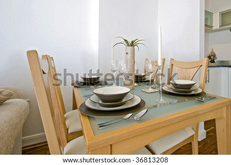 dining table with full setup