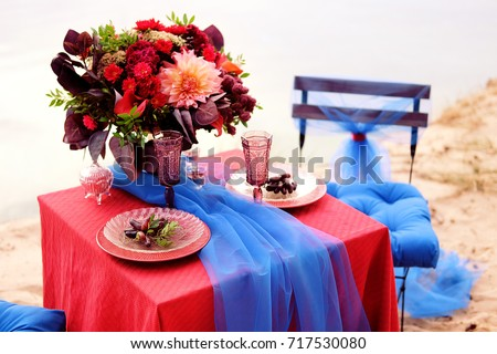 Romantic table setting for a couple of lovers with glasses of red & Dinner Two Romantic Table Setting Couple Stock Photo (Royalty Free ...